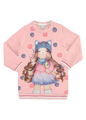 vestido moletom infantil feminino lovely rosa alakazoo 67466