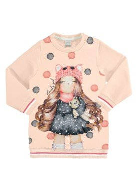 vestido moletom infantil feminino lovely salmao alakazoo 67466