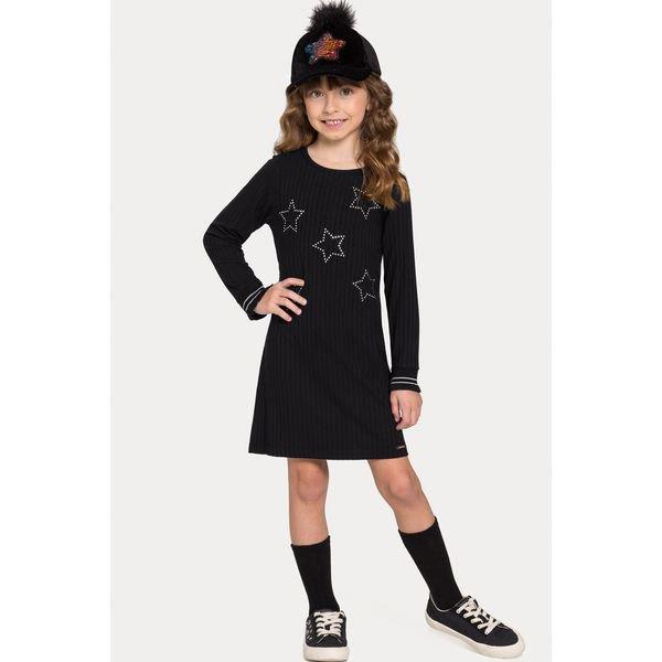 vestido manga longa infantil juvenil feminino stars preto alakazoo 67530 1