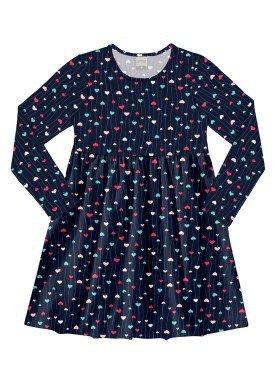 vestido manga longa infantil juvenil feminino coracoes marinho alakazoo 11372