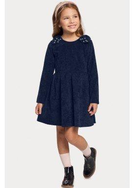 vestido manga longa veludo infantil feminino marinho alakazoo 11384 1