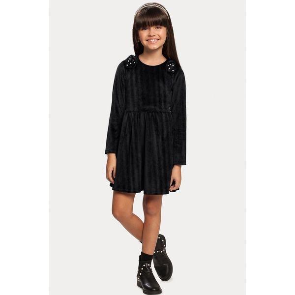 vestido manga longa veludo infantil feminino preto alakazoo 11384 1