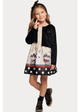 vestido casaco infantil feminino gatinhos offwhite alakazoo 11385 1