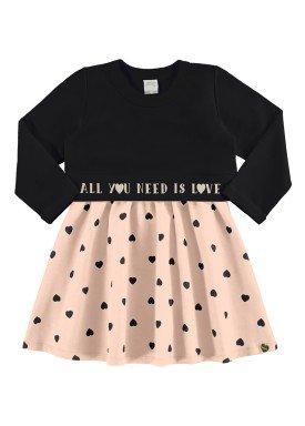 conjunto vestido blusao infantil feminino love preto alakazoo 67473
