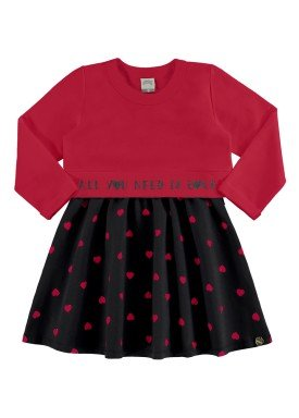 conjunto vestido blusao infantil feminino love vermelho alakazoo 67473