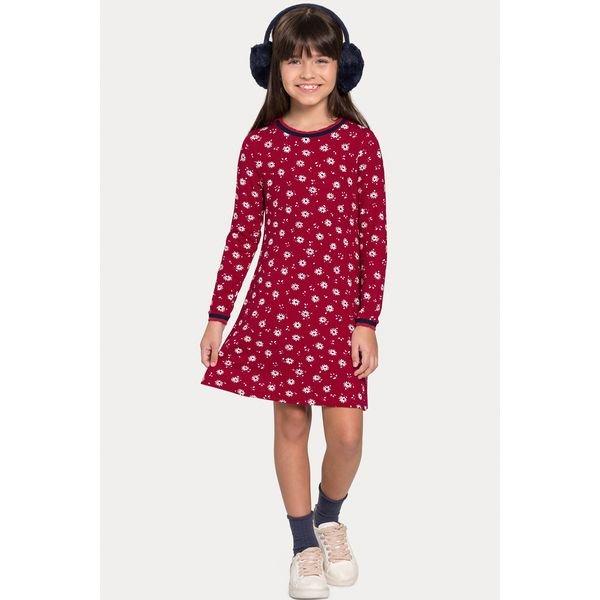vestido manga longa infantil juvenil feminino flores vermelho alakazoo 67534 1