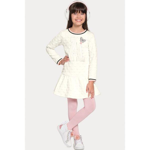 vestido manga longa infantil juvenil feminino borboletas offwhite alakazoo 67546 1