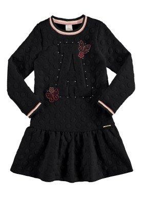 vestido manga longa infantil juvenil feminino borboletas preto alakazoo 67546