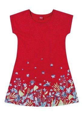 vestido infantil feminino flores vermelho elian 251347