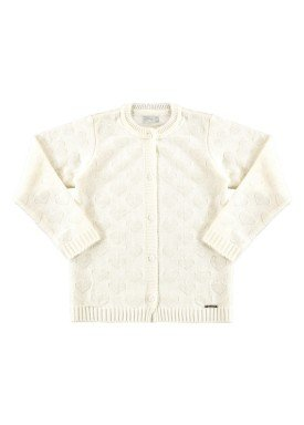 cardigan trico infantil feminino offwhite alakazoo 67494