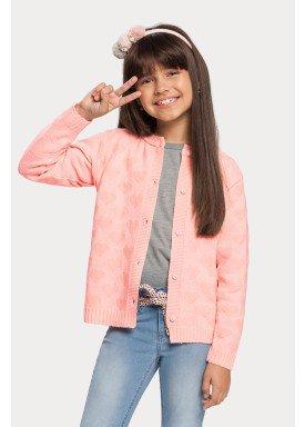 cardigan trico infantil feminino salmao alakazoo 67494 1