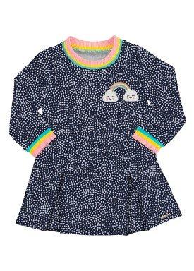 vestido bebe infantil feminino rainbow marinho alakazoo 67450