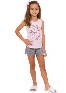 pijama curto infantil feminino dragonflies rosa evanilda 49 01 0032