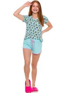 pijama curto juvenil feminino coalas verde evanilda 50 01 0022