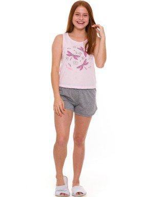 pijama curto juvenil feminino dragonflies rosa evanilda 50 01 0020