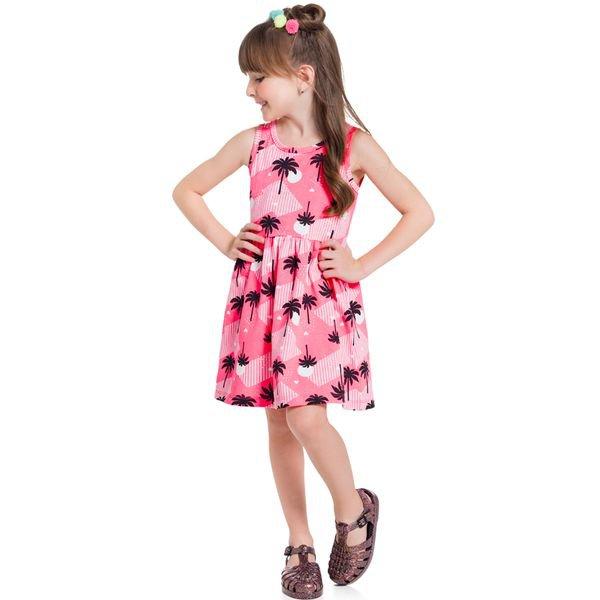 vestido infantil feminino palm trees rosa brandili 34298 1