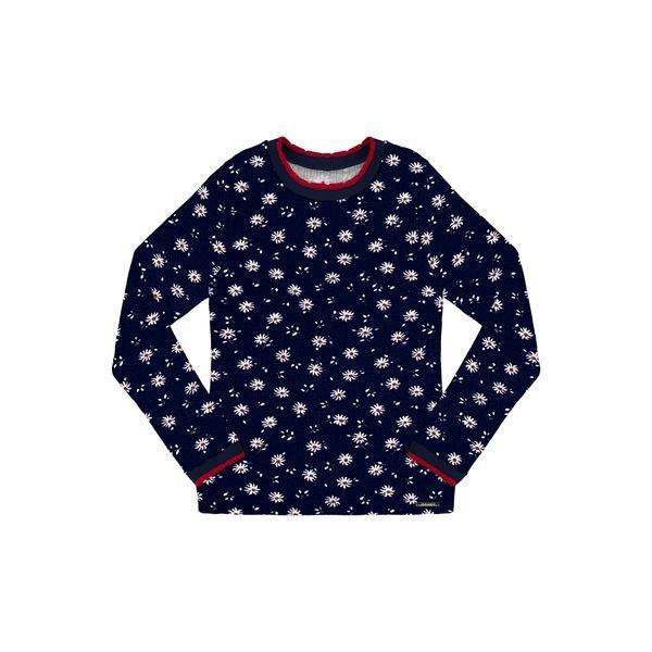 blusa manga longa infantil juvenil feminino flores marinho alakazoo 67536