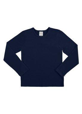 blusa basica manga longa infantil feminino marinho alakazoo 00204