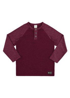 camiseta manga longa infantil juvenil masculino mouline bordo alakazoo 67413