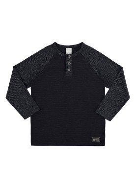 camiseta manga longa infantil juvenil masculino mouline preto alakazoo 67413
