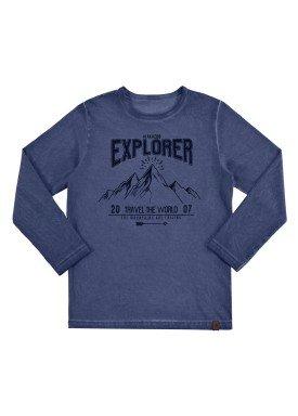 camiseta manga longa infantil masculino explorer marinho alakazoo 67419