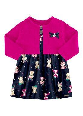 vestido bolero bebe feminino marinho alakazoo 67458