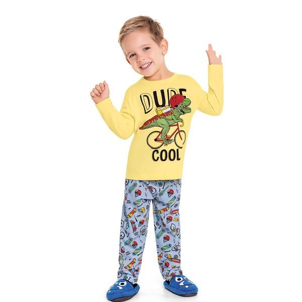 pijama longo infantil masculino dude amarelo fakini 3244 1