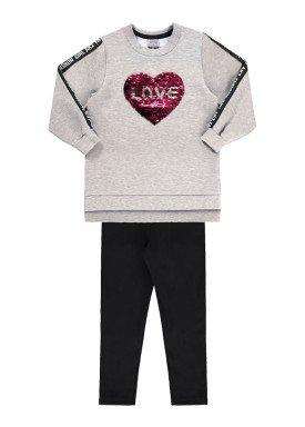 conjunto moletom infantil juvenil feminino love mescla 67471 1