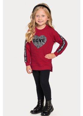 conjunto moletom infantil juvenil feminino love vermelho 67471 1