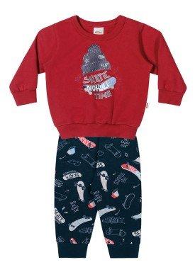 conjunto moletom bebe masculino skate vermelho elian 20924 1