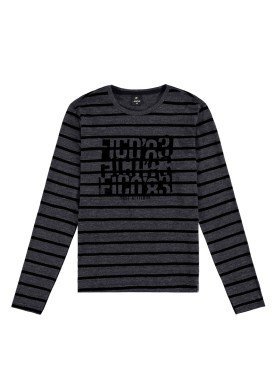 camiseta manga longa juvenil masculina true attitude preto fico 68432