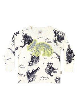 camiseta manga longa infantil masculina triceratops natural elian 221103