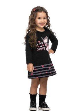vestido moletom infantil feminino amazing preto elian 231474 1