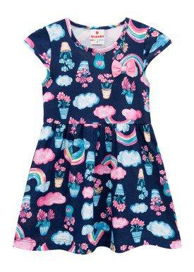 vestido infantil feminino flores marinho brandili 34185