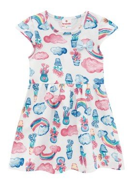vestido infantil feminino flores natural brandili 34185