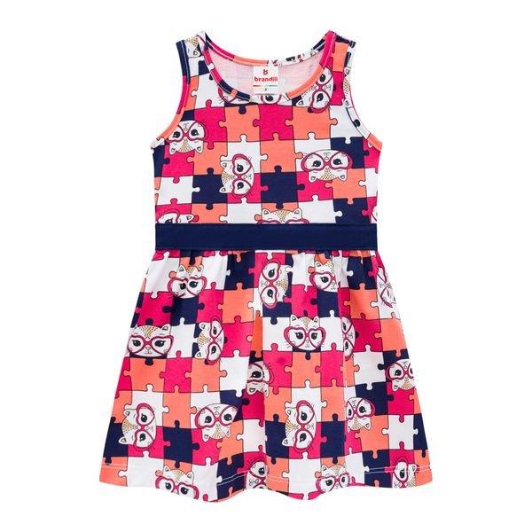 vestido infantil feminino quebra cabeca marinho brandili 34189