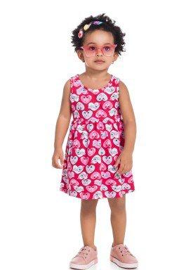vestido infantil feminino coracoes pink brandili 34291 1