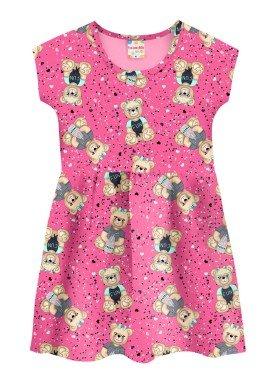 vestido infantil feminino ursinhos rosa brandili 34604