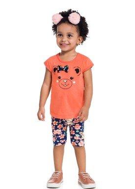 conjunto infantil feminino ursinho laranja brandili 34179 1