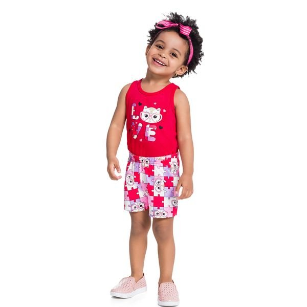 conjunto infantil feminino love vermelho brandili 34173