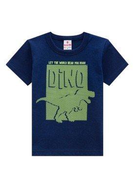 camiseta infantil masculina dino marinho brandili 34238