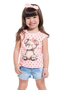 blusa infantil feminina ursinho rosa brandili 34570 1