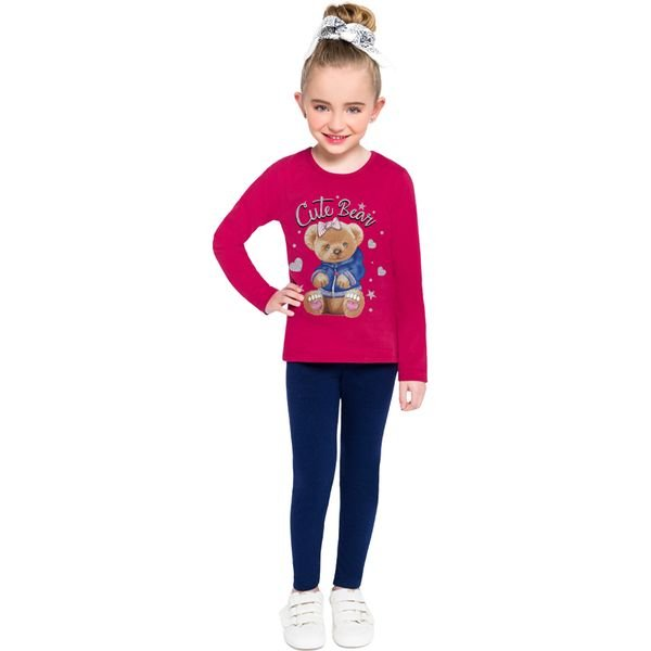 conjunto manga longa infantil feminino cute bear pink brandili 53938 1