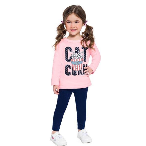 conjunto moletom infantil feminino catcorn rosa brandili 53997 1