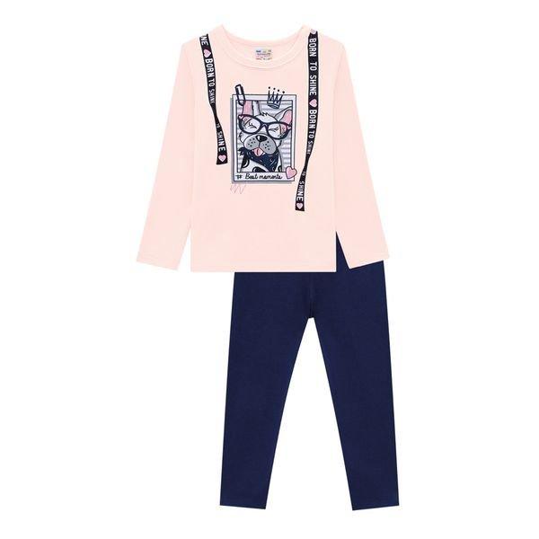 conjunto moletinho infantil feminino shine rosa brandili 54284 1