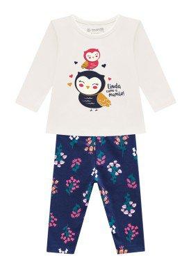conjunto manga longa bebe feminino corujinha natural brandili 54068 1