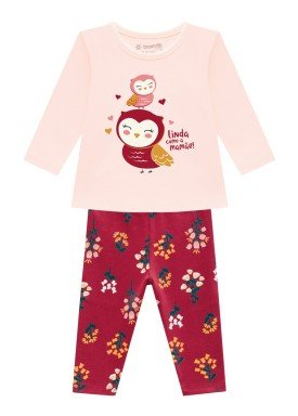 conjunto manga longa bebe feminino corujinha rosa brandili 54068 1