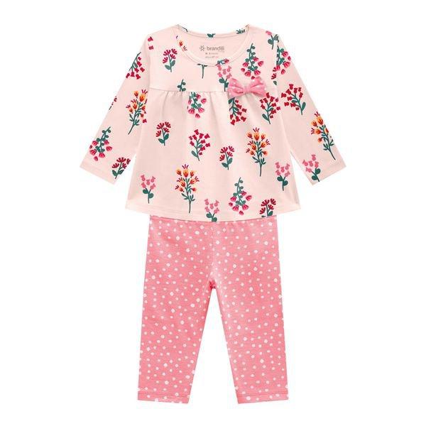 conjunto manga longa bebe feminino flores rosa brandili 54072 1