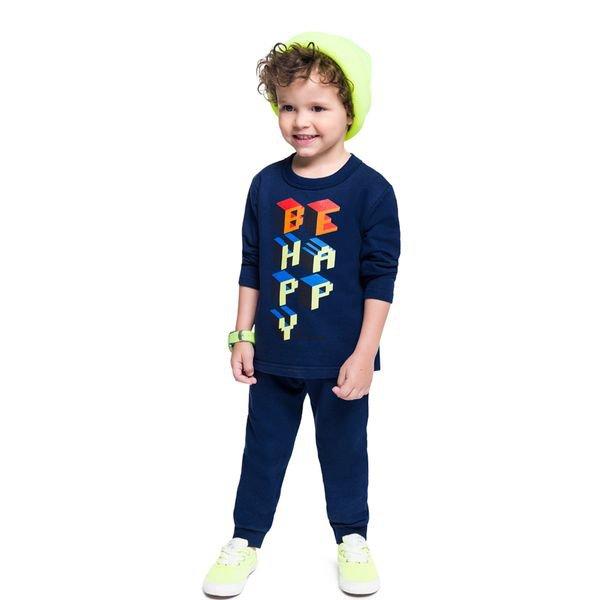conjunto moletinho infantil masculino be happy marinho brandili 54282 1