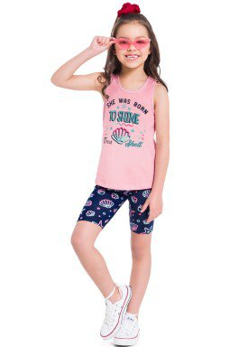 conjunto infantil feminino shell rosa brandili 34205 1